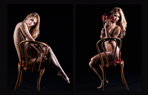 Ryan Leigh sitting in the chair nude